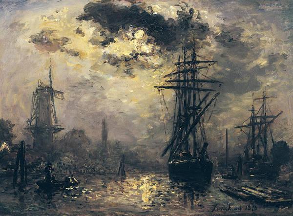 Wall Art - Painting - The Windmills In Rotterdam by Johan Barthold Jongkind