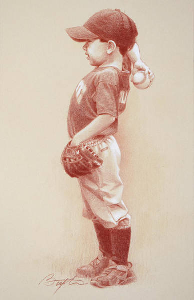 Pitchers Drawing - The Windup by Todd Baxter