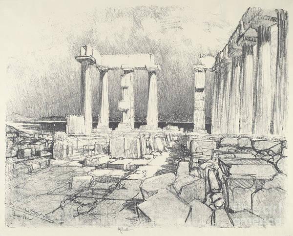 Wall Art - Drawing - The Wine-dark Sea, Sunium by Joseph Pennell