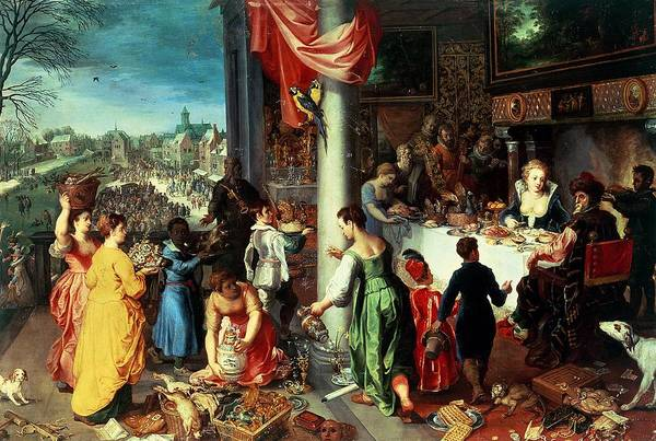 The Elder Painting - The Winter Feast by Hendrik van the Elder Balen