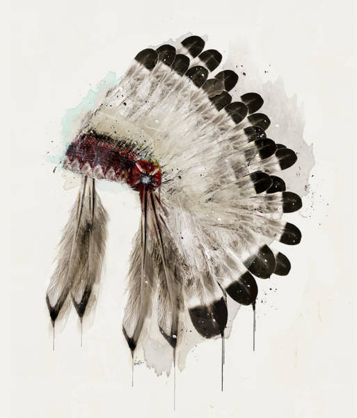 American Indians Painting - The Winter Headdress by Bri Buckley