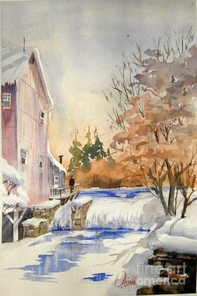 Painting - The Winter Mill by Gerald Miraldi