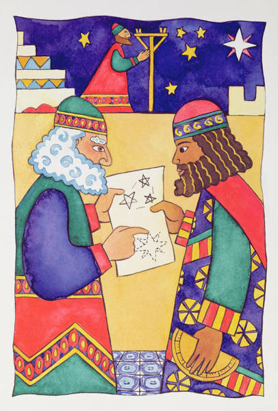 Bethlehem Wall Art - Painting - The Wise Men Looking For The Star Of Bethlehem by Cathy Baxter