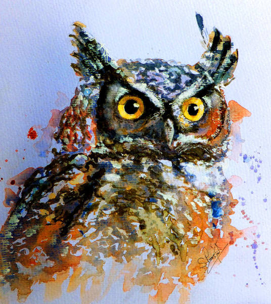 Old Blue Eyes Wall Art - Painting - The Wise Old Owl by Steven Ponsford