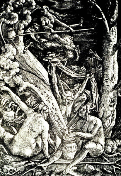 Black Magic Woman Wall Art - Drawing - The Witches At The Sabbath by Hans Baldung Grien