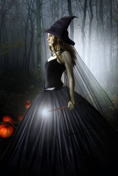 Black Magic Woman Wall Art - Digital Art - The Witching Hour by Julie L Hoddinott