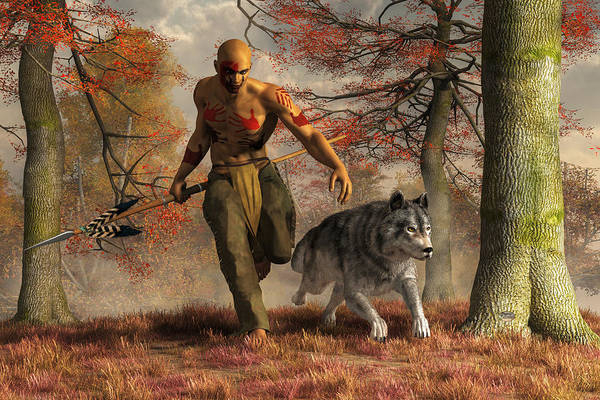 Digital Art - The Wolf Teaching Man To Hunt by Daniel Eskridge