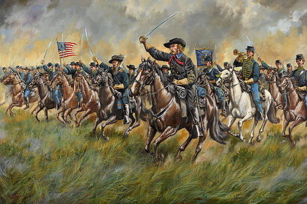 Wall Art - Painting - The Wolverines - George A. Custer And The Michigan Cavalry Brigade At Gettysburg by Mark Maritato