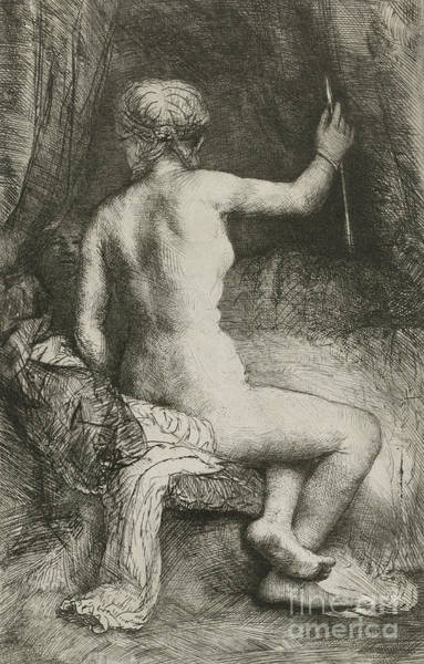 Wall Art - Drawing - The Woman With The Arrow by Rembrandt