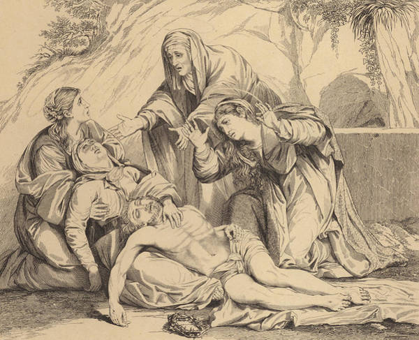 Gospel Drawing - The Women From Galilee Weeping Over The Body Of Christ by English School