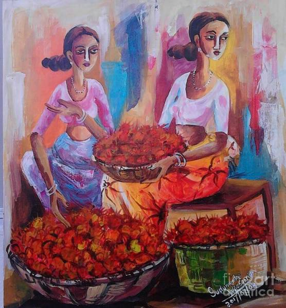 Wall Art - Painting - The Women Who Plucking Rumbutons by Sudumenike Wijesooriya