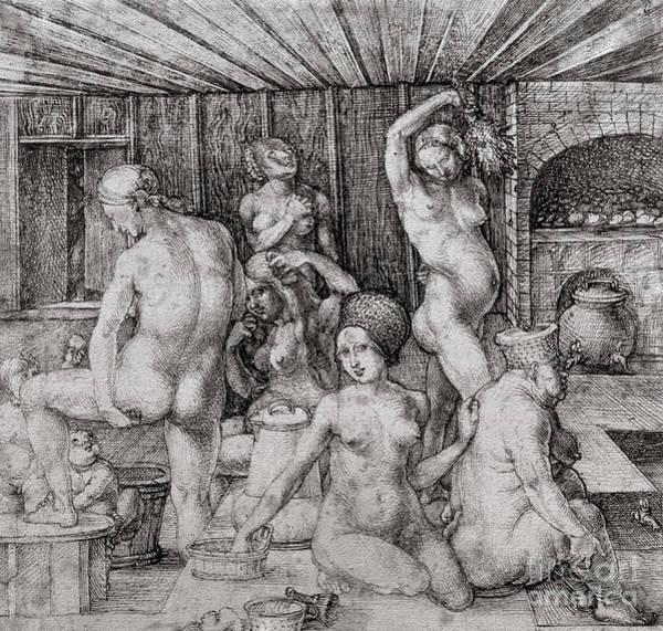 Albrecht Durer Wall Art - Drawing - The Women's Bath, 1496 by Albrecht Durer