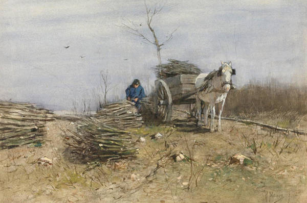 Impressionistic Landscape Drawing - The Wood Gatherer by Anton Mauve