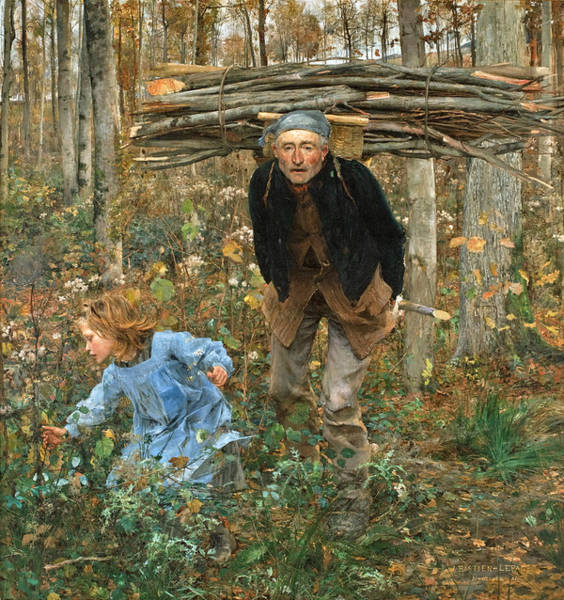 T-shirts Painting - The Wood Gatherer by Jules Bastien-Lepage