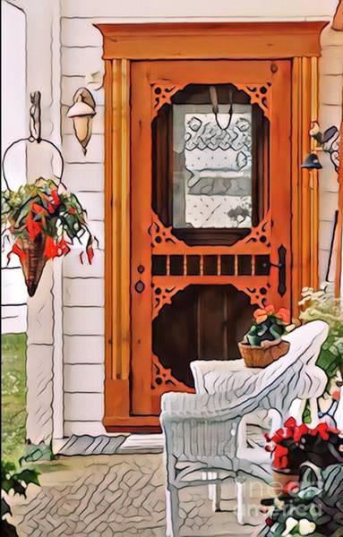 Wicker Basket Digital Art - The Wooden Door  by Aline Halle-Gilbert