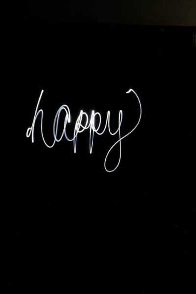 Wall Art - Photograph - The Word Happy In White Light by Gillham Studios