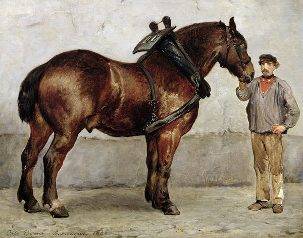 Plowing Painting - The Work Horse by Otto Bache