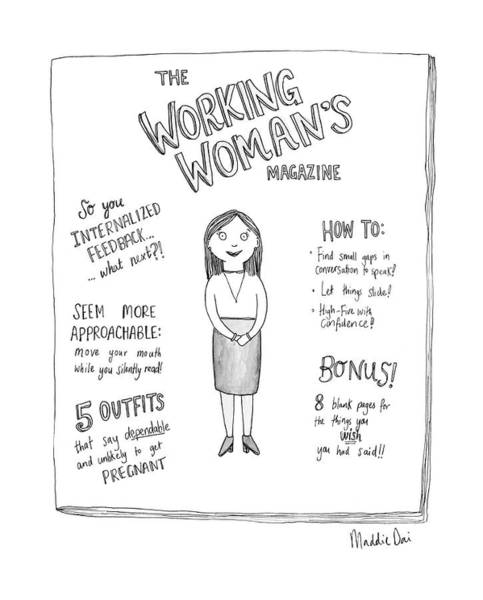 Magazine Cover Drawing - The Working Womans Magazine by Maddie Dai