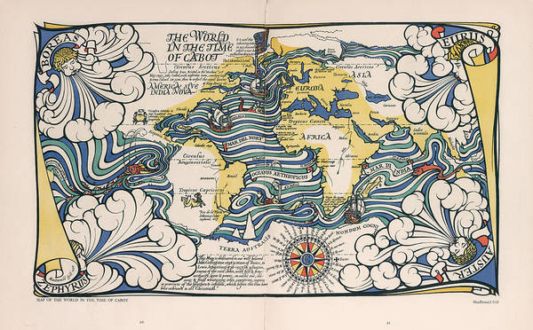 Illustrated Drawing - The World In The Time Of Cabot - Illustrated Map Of The World - Antique Map by Studio Grafiikka