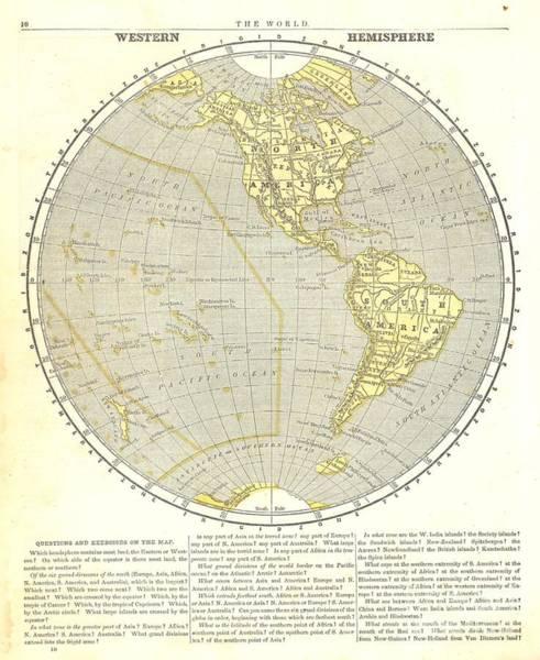 Painting - The World - Westhem Hemisphere 1845 by Celestial Images