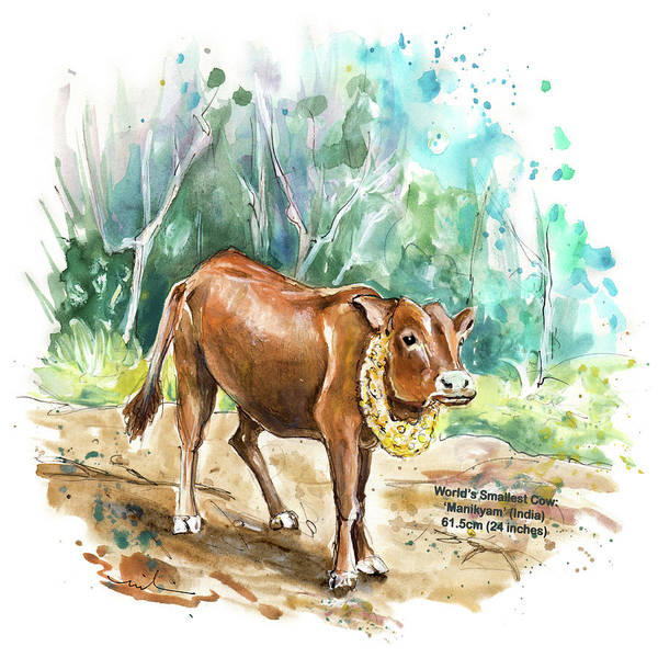 Painting - The Worlds Smallest Cow by Miki De Goodaboom
