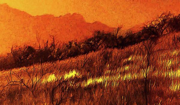 Digital Art - The Yellow Grass by Chuck Mountain