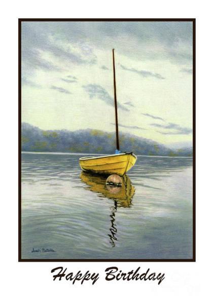Wall Art - Painting - The Yellow Sailboat- Happy Birthday Cards by Sarah Batalka
