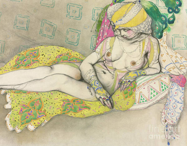 Wall Art - Drawing - The Yellow Sultana by Leon Bakst