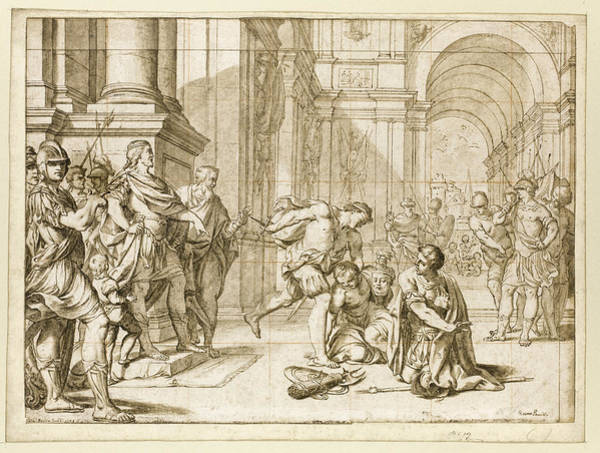 Wall Art - Drawing - The Young Cato Observing The Cruelty Of The Dictator Sulla by Giacomo Pavia