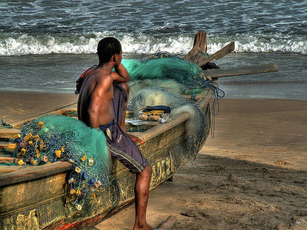 Photograph - The Young Man And The Sea by Wayne King