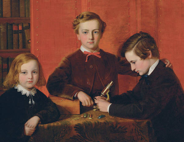 Educating Wall Art - Painting - The Young Microscopists by John Edgar Williams
