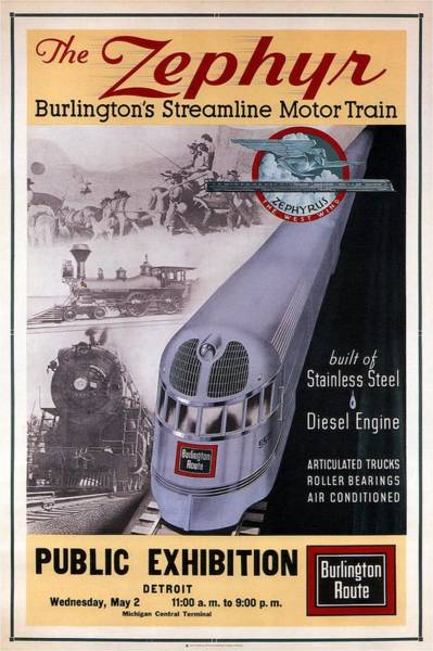 Motor Mixed Media - The Zephyr - Burlington's Streamline Motor Train - Retro Travel Poster - Vintage Poster by Studio Grafiikka