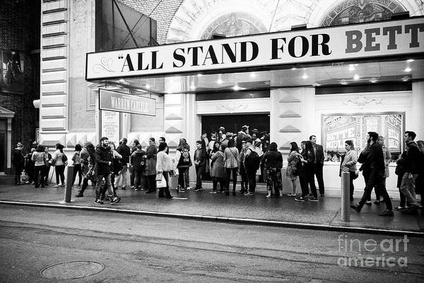 theater goers queue outside the schubert theatre before perfomance New York City USA Art Print