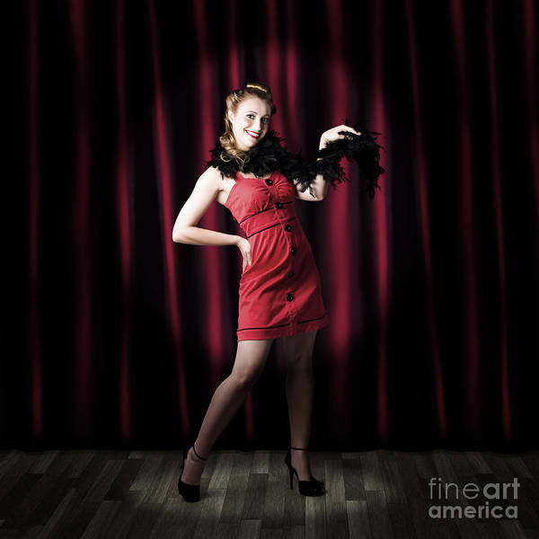 Showgirl Photograph - Theater Performer In Front Of Red Stage Curtains by Jorgo Photography - Wall Art Gallery