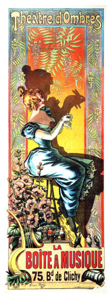 Wall Art - Mixed Media - Theatre D'ombres - Play Of Shadows - Vintage French Advertising Poster - La Boite A Musique by Studio Grafiikka