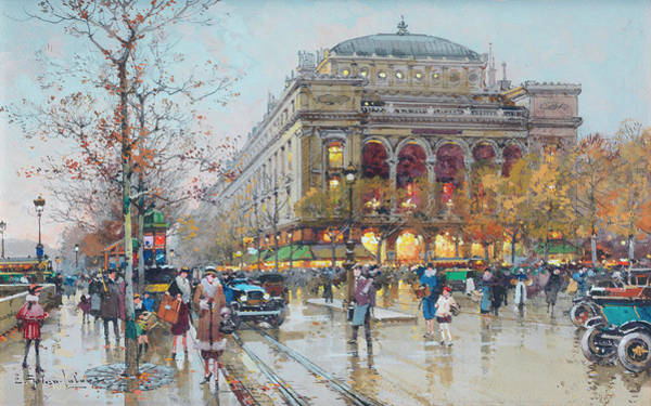 Trolley Car Wall Art - Painting - Theatre Du Chatelet by Eugene Galien-Laloue