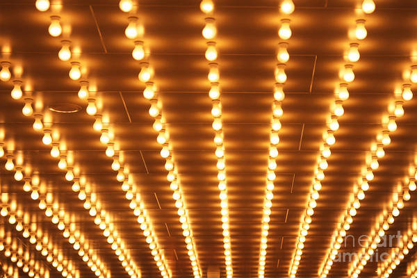 Wall Art - Photograph - Theatre Lightbulbs On An Old Theater by Paul Velgos