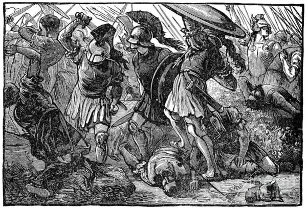 Drawing - Thebans And Macedonians In Battle.  by Granger