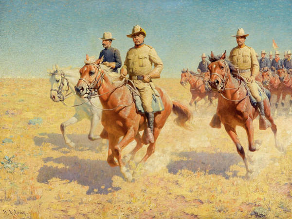 Volunteer Wall Art - Painting - Theodore Roosevelt And The Rough Riders by William Robinson Leigh