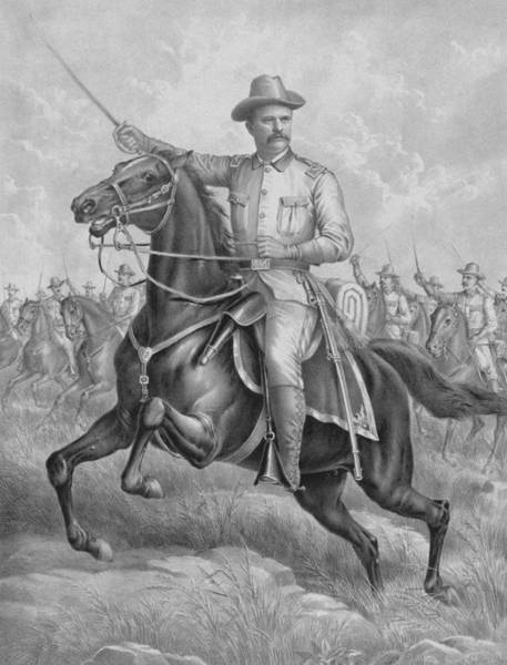 Wall Art - Drawing - Theodore Roosevelt On Horseback  by War Is Hell Store