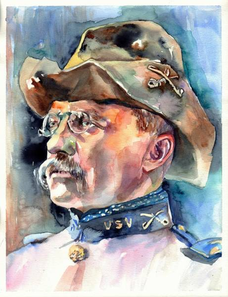 Souvenirs Painting - Theodore Roosevelt Portrait Watercolor by Suzann Sines