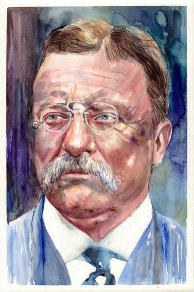 Souvenirs Painting - Theodore Roosevelt Watercolor Portrait by Suzann Sines