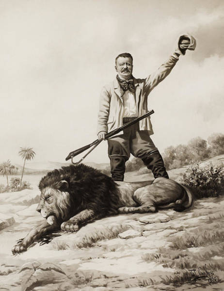 Wall Art - Painting - Theodore Roosevelt With Hunted Lion  by War Is Hell Store