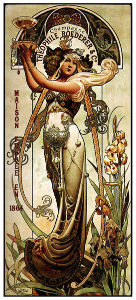Champagne Mixed Media - Theophile Roederer - Champagne - Vintage Art Nouveau Advertising Poster by Studio Grafiikka