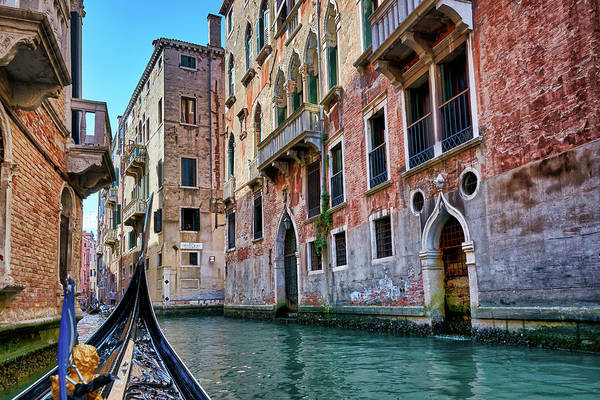 Photograph - There Is Some Water On Your Door - Gondola Ride Surrounded By Abandoned Buildings In Venice, Italy by Fine Art Photography Prints By Eduardo Accorinti