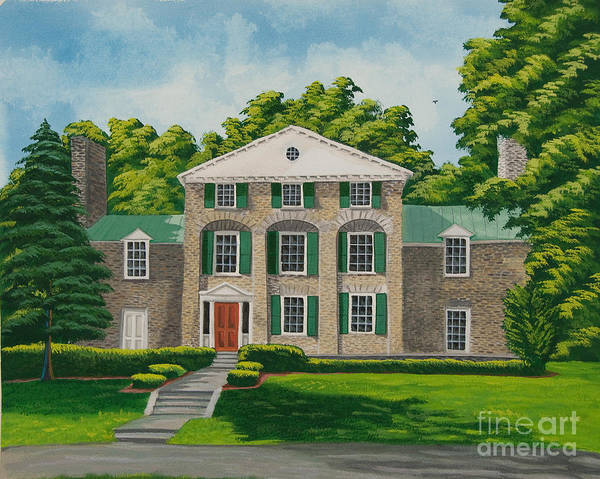 College Campus Painting - Theta Chi by Charlotte Blanchard