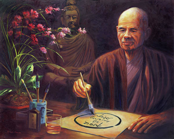 Wall Art - Painting - Thich Nhat Hanh by Steve Simon