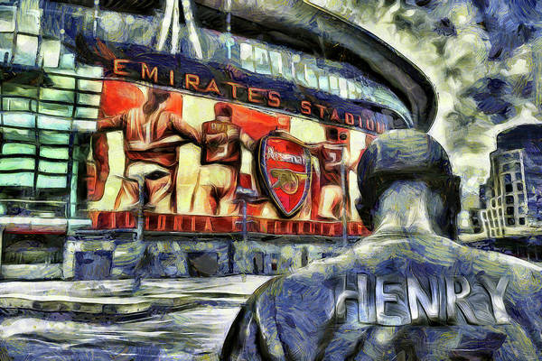 Wall Art - Mixed Media - Thierry Henry Statue Emirates Stadium Art by David Pyatt