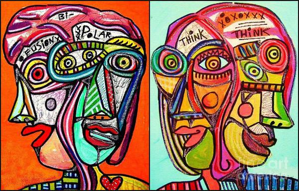 Painting - -think Bi-polar Faces by Sandra Silberzweig