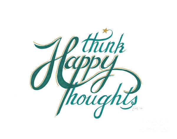 Drawing - Think Happy Thoughts by Cindy Garber Iverson